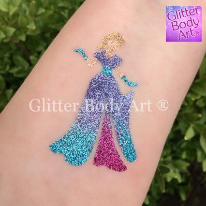 Disney Princess Temporary tattoo stencil for princess party glitter tattoos