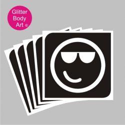 Emoji with sunglasses temporary tattoo stencil