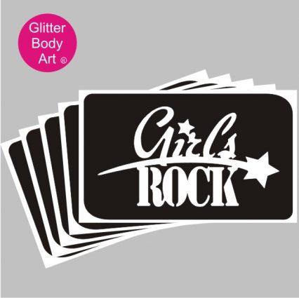 Girls Rock Glitter Tattoo stencil for temporary tattoos