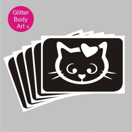 hello kitty with heart temporary tattoo stencil, pussy cat stencils