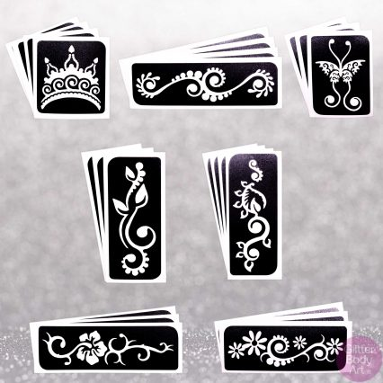 henna temporary tattoo stencils pack, refill pack of 24 stencil templates for glitter tattoos