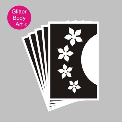 Floral face temporary tattoo stencil for creating glitter tattoos for the face