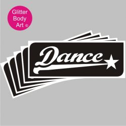 dance wordart temporary tattoo stencil