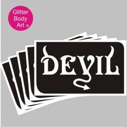 devil word art temporary tattoo stencil