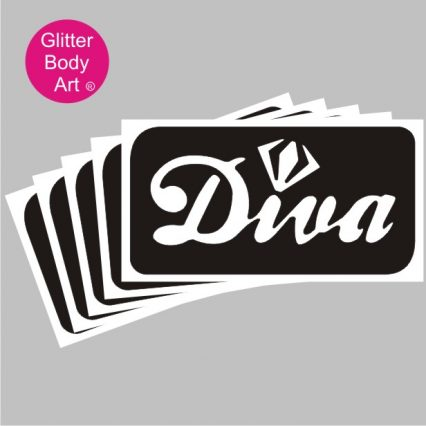 Diva with a diamond temporary tattoo stencil
