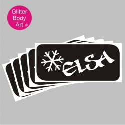 elsa word art temporary tattoo stencil for Frozen Film