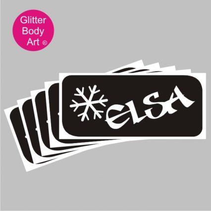 elsa word art temporary tattoo stencil for Frozen Film