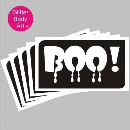 boo word art temporary tattoo stencil