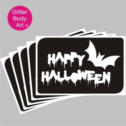 happy halloween word art temporary tattoo stencil