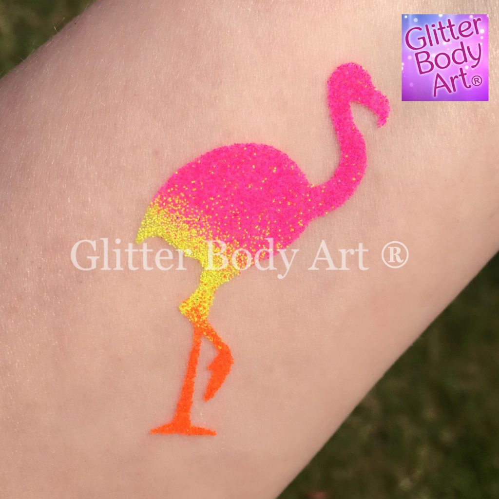 neon pink flamingo temporary tattoo, flamingo glitter tattoo
