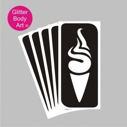 Ice cream temporary tattoo stencil