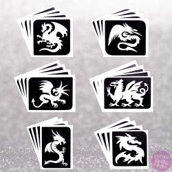 dragon temporary tattoo stencils, bulk pack of stencils