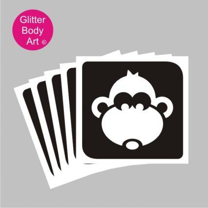 Cute monkey temporary tattoo stencil for glitter tattoos