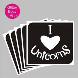 i love unicorns temporary tattoo stencil wordart and heart stencil