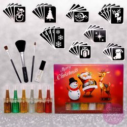 Christmas Glitter Tattoo Kit, festive stencil designs