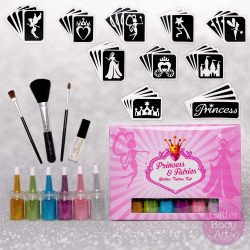 Princess Glitter tattoo kit, Fairies glitter tattoo set