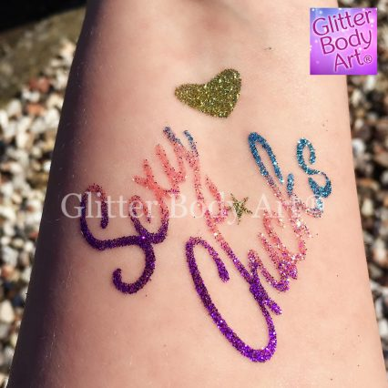 sexy chick hen party temporary tattoo stencil for glitter tattoos