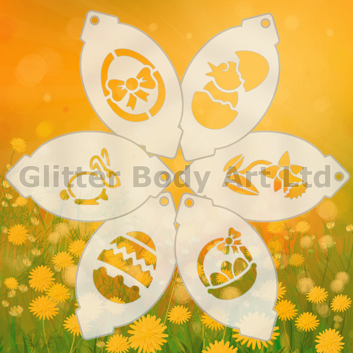 Face Paint Stencils X 6 Easter Temporary Tattoo Store