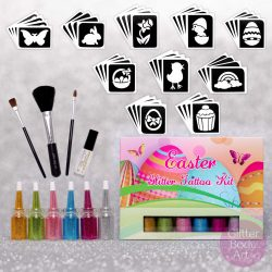 Easter glitter tattoo kit, easter temporary tattoos for kids