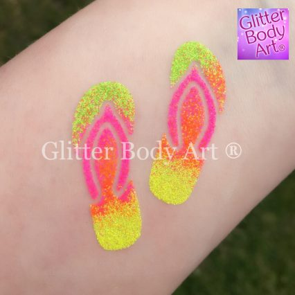 flip flop temporary tattoo stencil for glitter tattoos