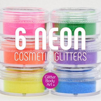 neon face and body glitter collection of 6 jars of loose glitter