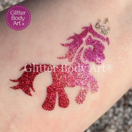 My little pony temporary tattoo stencil, pony with crown glitter tattoo