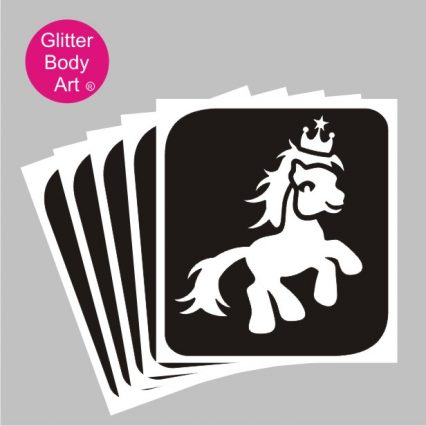 My Little Pony with crown temporary tattoo stencil