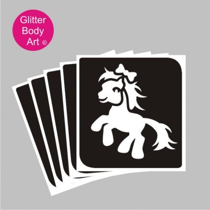 My little Pony with bow temporary tattoo stencil