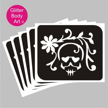 Night of the Dead skull with flowers temporary tattoo stencil