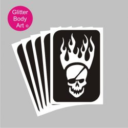 skull with eyepatch and flames coming from his head, temporary tattoos for kids