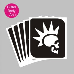 punk rocker skull with mohican haircut temporary tattoo stencil
