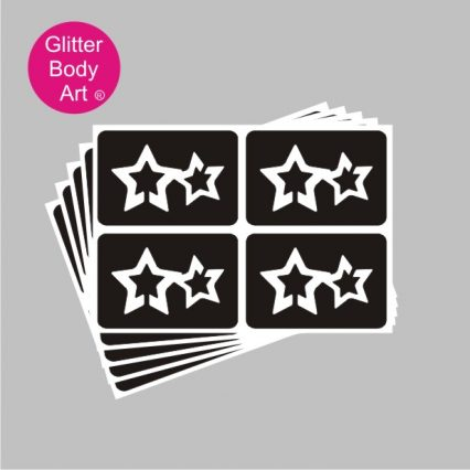 mini double stars temporary tattoos stencil
