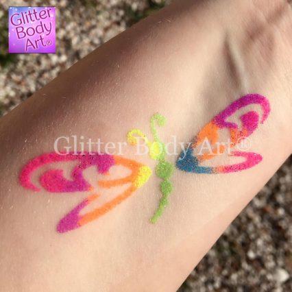 dragonfly temporary tattoo made from uv glitter