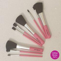 pink makeup brush set for glitter tattoos