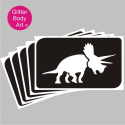 Triceratops dinosaur temporary tattoo stencil, Dinosaur Party Stencils