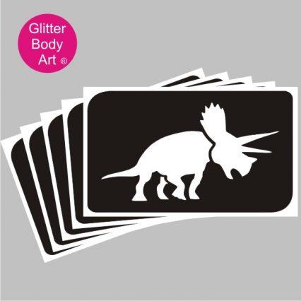 Triceratops dinosaur temporary tattoo stencil, Dinosaur Party Stencils