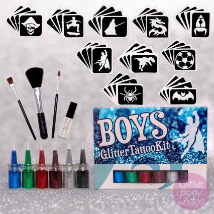 boy glitter tattoo kit, boys glitter body art set