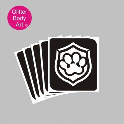 paw patrol badge temporary tattoo stencil, fake tattoos