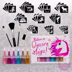 unicorn glitter tattoo kit with unicorn stencils and body glitter in a unicorn gift box, unicorn party