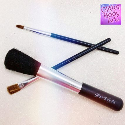 Glitter tattoo brushes set of 3 different sized makeup brushes