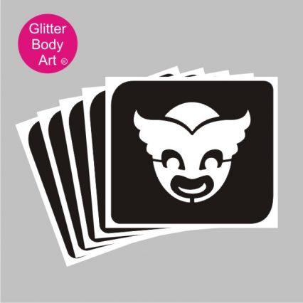 PJ Masks temporary tattoo stencil, fun masks glitter tattoo stencil