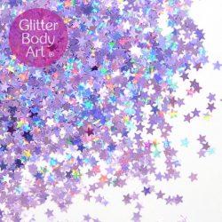 Holographic lavender glitter stars for festival makeup looks