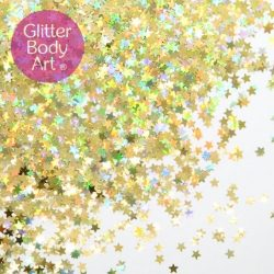 holographic gold makeup stars