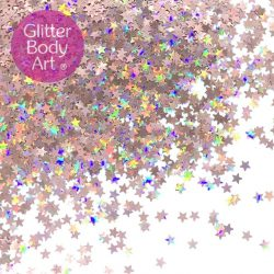 Orange cosmetic face and body chunky glitter stars for festival makeup
