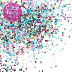 multicoloured glitter stars for festival makeup