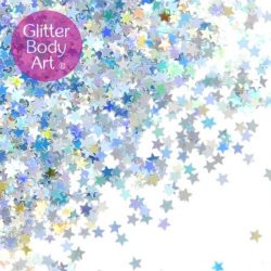 silver holographic makeup stars