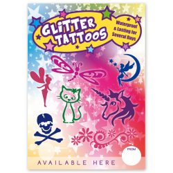 glitter tattoo advertising poster A4 size, temporary tattoo stencil banner