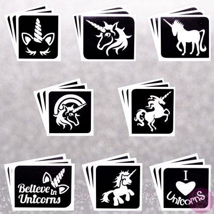 unicorn stencil, unicorn template, unicorn temporary tattoo, unicorn glitter tattoo, unicorn magic, i believe in unicorns