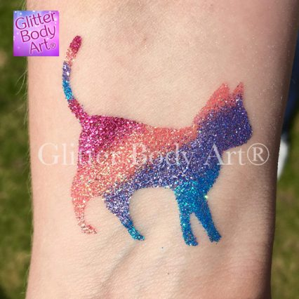 pussy cat temporary tattoo stencil for kid, cat glitter tattoo