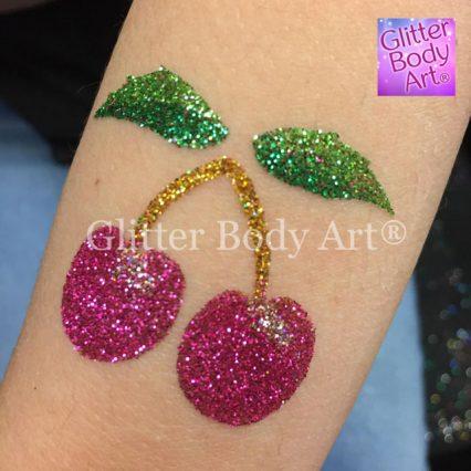 Cherry glitter tattoo stencil, cherry temporary tattoos for kids
